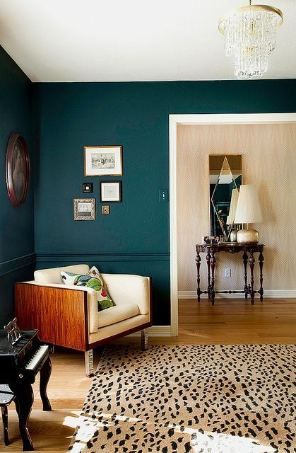 Dark color on the walls can elevate a space. This room is elegant and cozy (Paint: Benjamin Moore's Dark | http://interior-house-design.flappyhouse.com