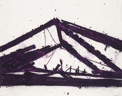 Violet Rafters, 2001 acrylic, pigments and charcoal on paper 56 x 71cm