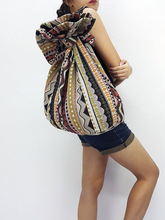 Woven Cotton Bag Single Strap Backpack Hippie #bagsandpurses @EtsyMktgTool http://etsy.me/2yhCVlT #bagsandpurses #hipbag #hippiebag