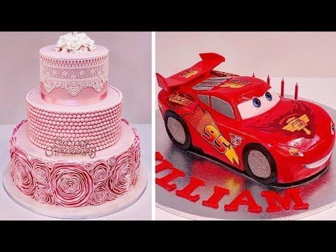(43) как сделать Торт на день рождения для детей 💖 свадебный торт, сливочный крем, Помадка для украшения торта видео - YouTube