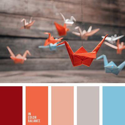 алый, апельсиновый, бордовый, голубой, красный, небесный, оттенки оранжевого, оттенки теплого цвета, персиковый, серый, синий, яркий голубой.