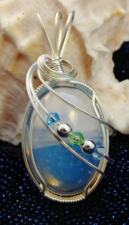 Opalite, Swarovski and Sterling Silver Wire Wrapped Pendant