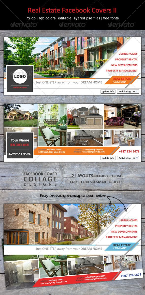 Modern, creative Facebook timeline covers for real estate agents, interior designers, developers. Matching Real Estate Flyer & Postcard also available.
