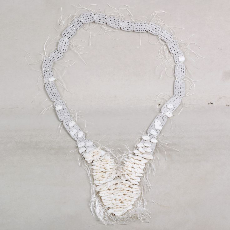 Mirka Janeckova necklace aluminium and porcelain White Collection €434 -aluminium, porcelain white, silk: