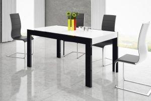 Nowoczesny stół, rozkładany, czarny, grafitowy, dwa wymiary, wysoki połysk, HUBERTUS, Imperia