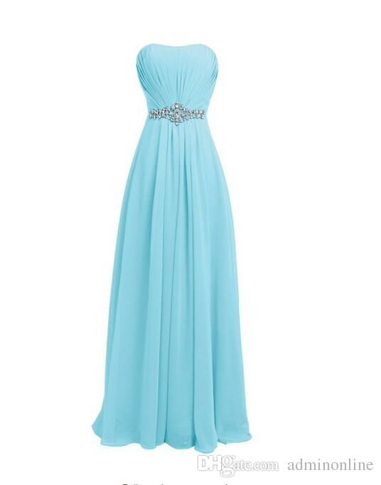 Formal Dresses For Women Simple Real Photo Light Blue Evening And Prom Dresses With Rhinestones Strapless Chiffon Dress For Bridesmaid Sexy Long Night Wear Gowns Long Gowns From Adminonline, $93.19| Dhgate.Com