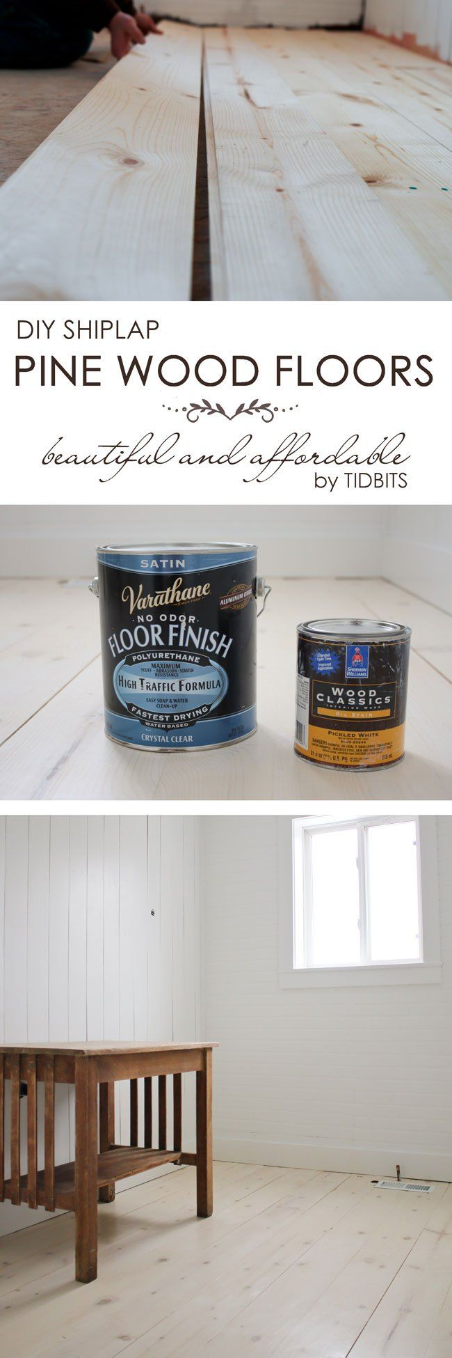 DIY Shiplap Pine Wood Floors - beautiful and affordable with a lovely whitewashed look!