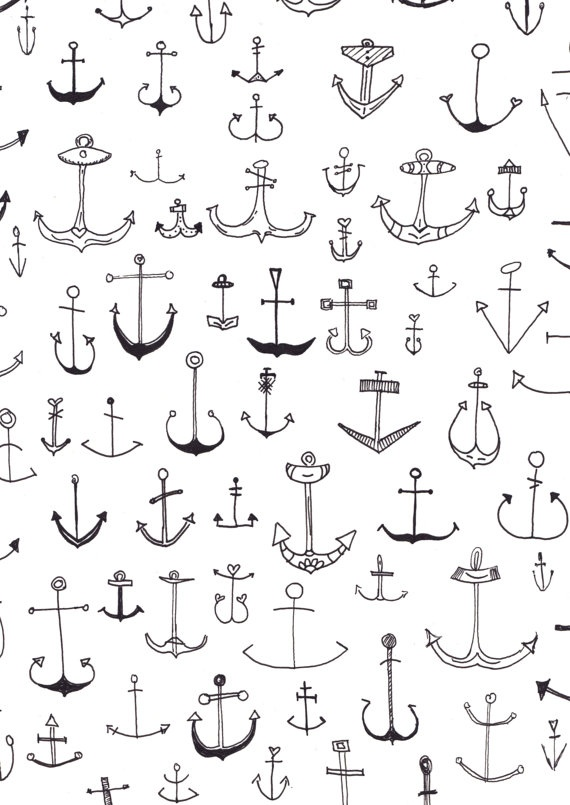 Anchor Ilustration Nautical Print by LottiandMe on Etsy, €9.90