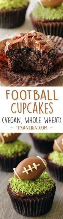 These moist chocolat These moist chocolate football cupcakes...  These moist chocolat These moist chocolate football cupcakes have a simple chocolate fudge frosting naturally dyed green coconut grass and a chocolate peanut butter football truffle on top! {vegan dairy-free and 100% whole grain (all-purpose flour can also be used)}. Recipe : http://ift.tt/1hGiZgA And @ItsNutella  http://ift.tt/2v8iUYW