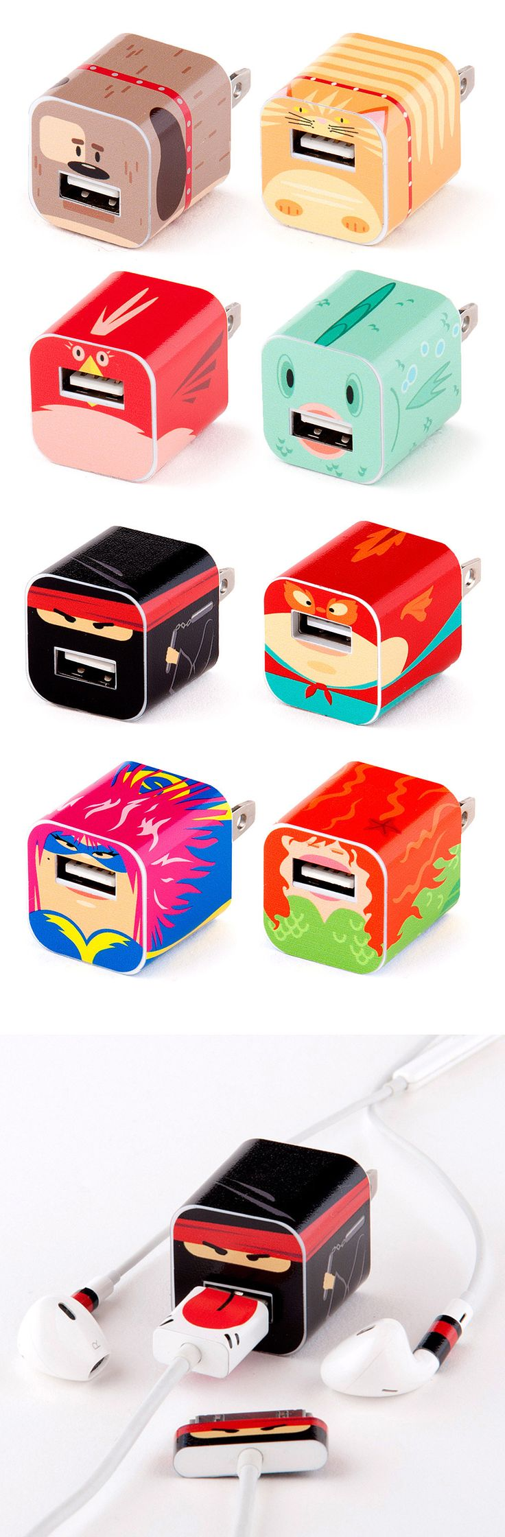 Truffol.com | Fun decals for iPhone chargers #wallcharger #usbcharger