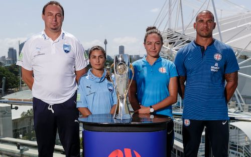 Ante Juric, Teresa Polias, Kyah Simon and Patrick Kisnorbo with the W-League trophy. Today's Grand Final kicks-off at 5pm at Allianz Stadium. Be there! #WLeagueGF #SYDvMCY 18.02.18