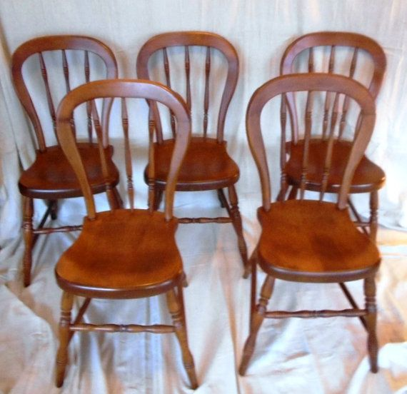 SALE Set Of 5 Tell City Maple Chairs. By MonkeyfootJunction