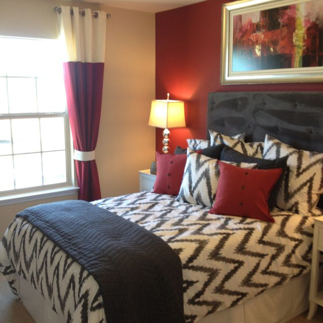 Grey and red bedroom. Chevron! maybe the red a little brighter