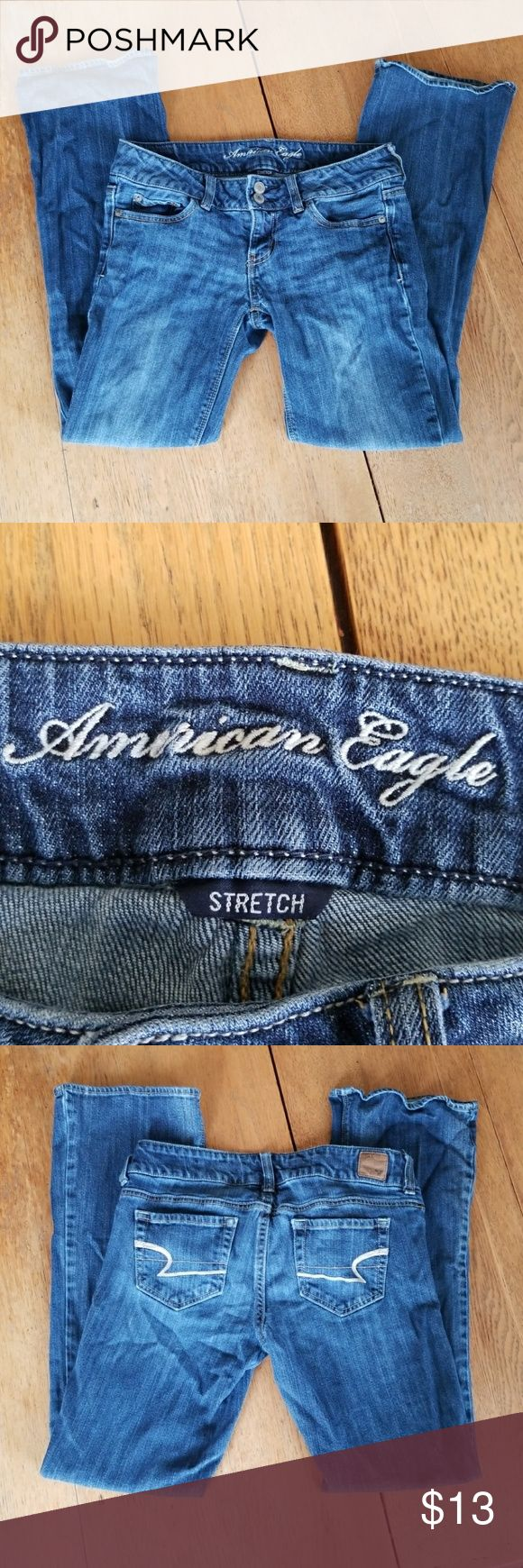 American Eagle Jeans These are older model American Eagle jeans that are still in good condition to wear, that are a dark blue and are the short length and a size 4. American Eagle Outfitters Jeans Boot Cut