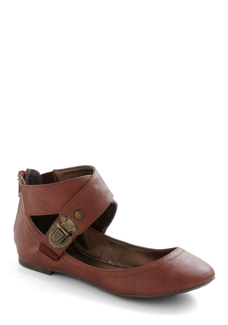 Chestnut Your Average Flat - Flat, Red, Tan / Cream, Buckles, Steampunk
