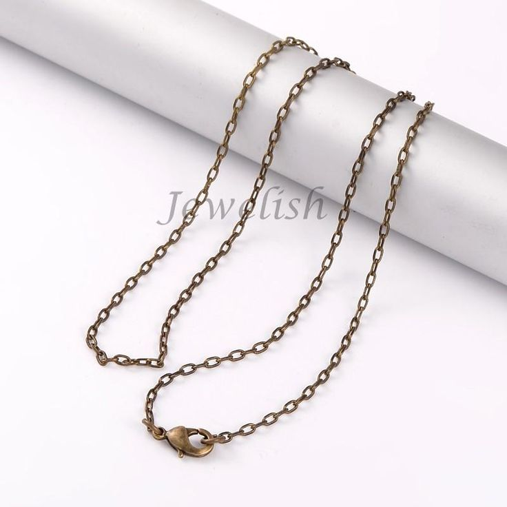 """Brass Cross Chain Necklace Makings, with Lobster Claw Clasps, Antique Bronze, 17.1""""; 2mm"""
