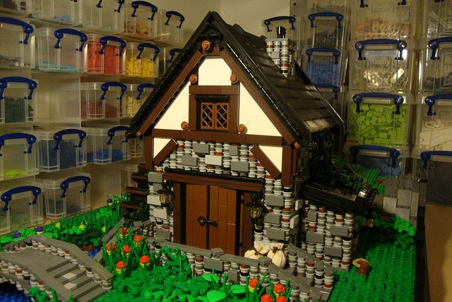 Look [ background walls ] at storage for legos, Guide to building a detailed medieval village