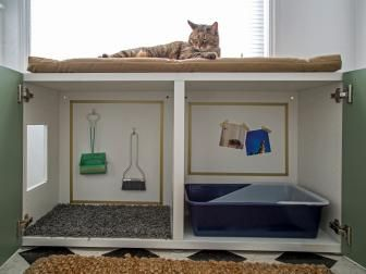 Retrofit a standard cabinet into a way to hide the litter box >> http://www.diynetwork.com/how-to/make-and-decorate/decorating/happy-pet-owner-advice-from-the-house-counselor-videos?soc=pinterest