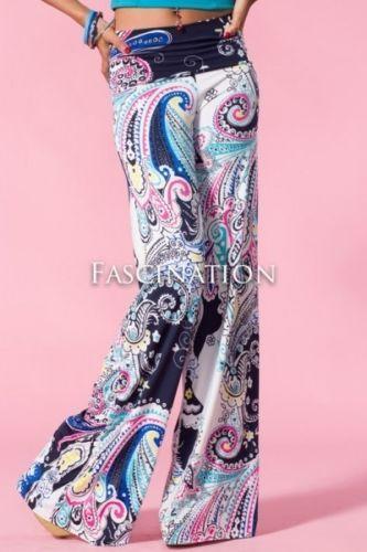 Womens New Hot Fashion Trend Popular Wide Leg PALAZZO Pants Blue Multi S~M~L