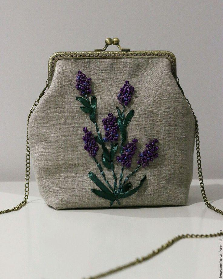 "Купить Сумка с фермуаром ""Лаванда"" - сумка, сумка женская, Сумка с фермуаром, сумочка с фермуаром"
