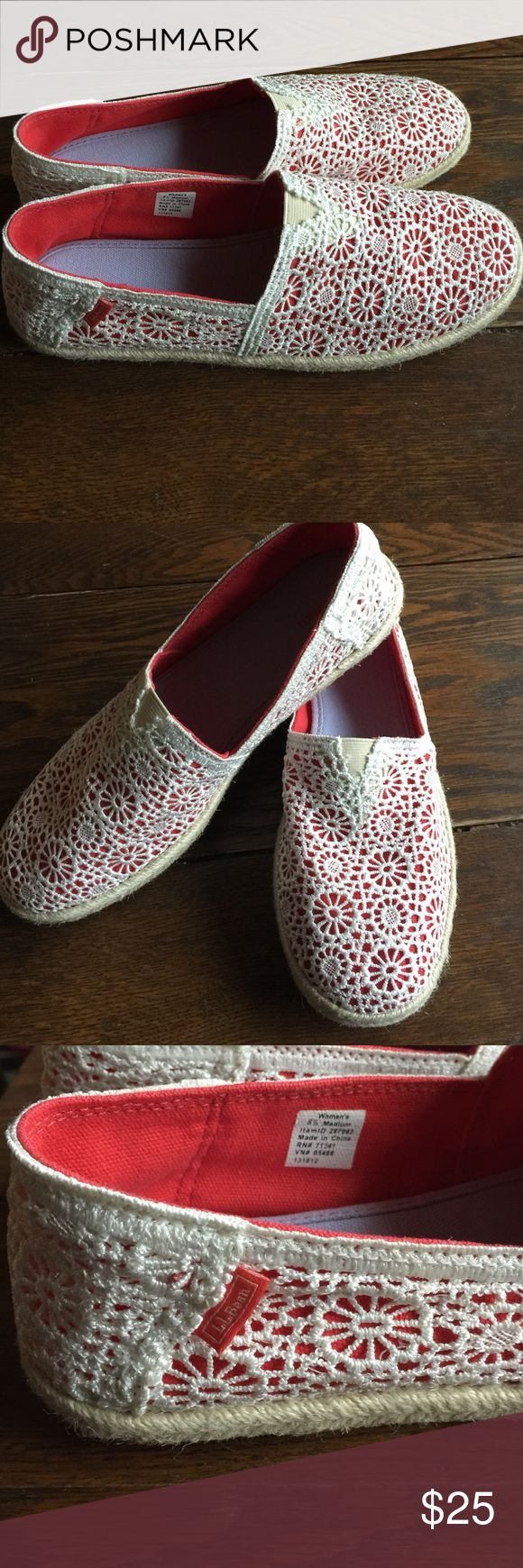 LL. BEAN lace/crochet slip on canvas shoes RARE🎉 New condition!! (No tag-no box) Never worn these Babies are rare for LL Bean!! 😍❤️️Women's size 8.5 medium ~Made very nicely these are a slip on canvas like shoe with a cream or Off white crochet like lace overlay with red background/underneath. A small red LL Bean tag on the outsides of each shoe, rubber soles and neat sole trims. Super awesome❤️️ RARE ❤️️LL Beans❤️️ L.L. Bean Shoes Flats & Loafers