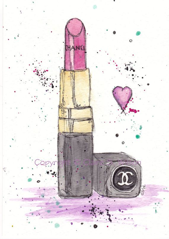 Chanel. Lipstick. Watercolour.