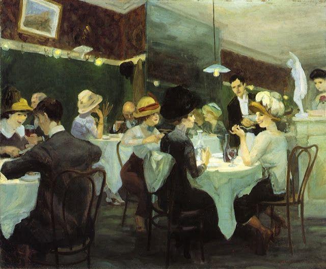 John French Sloan - Restaurante Renganeschi un sabado por la noche, 1912