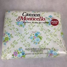 VTG NEW Cannon Monticello Double Full Fitted Bed Sheet Blue Floral Bouquet 50 50