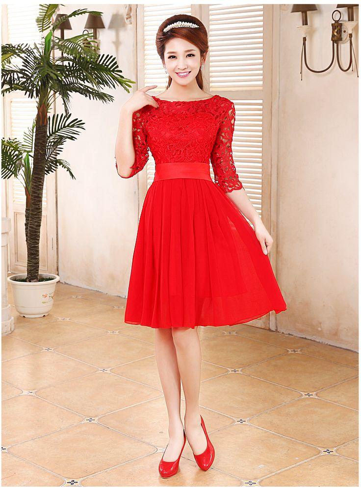Brinde o vestido de casamento da noiva vestido de noite senhora em vermelho palavra ombro meia manga vestido de renda curto parágrafo em Vestidos de Noite de Casamentos e Eventos no AliExpress.com | Alibaba Group