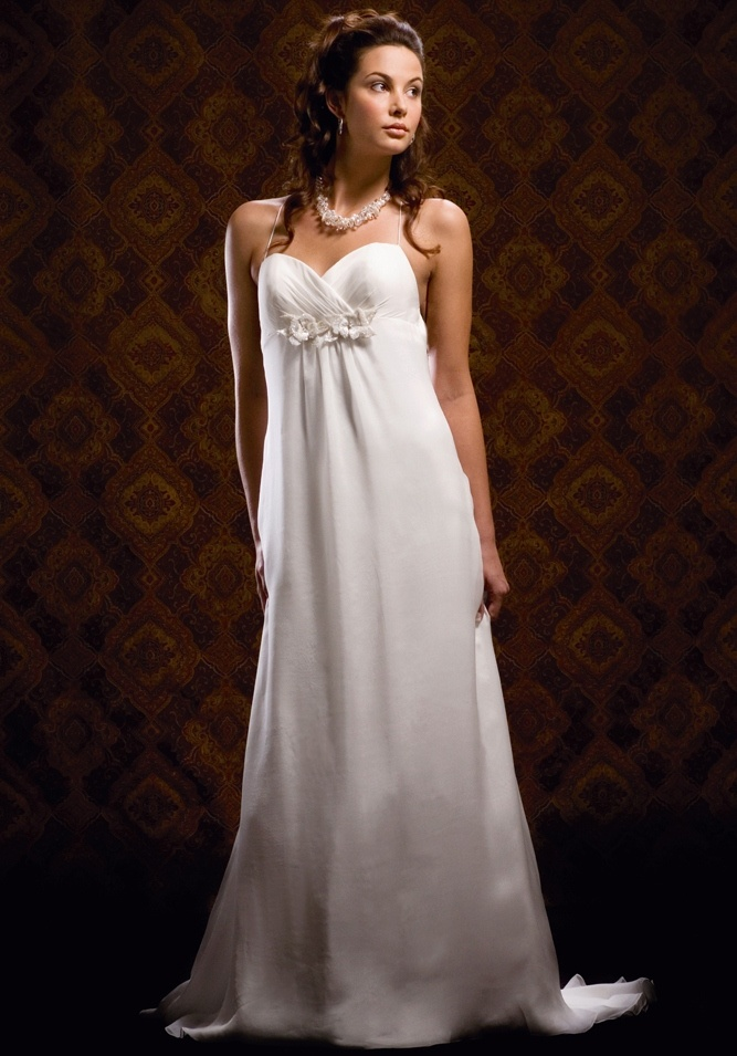 Empire Sweetheart Gathered Neckline Flower Accent Low Tie Back Chiffon Wedding Dress-we0021, $229.95