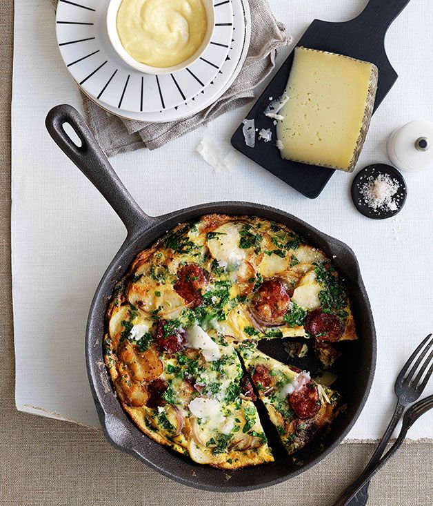 Australian Gourmet Traveller Spanish recipe for chorizo and Manchego tortilla.