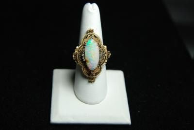 15k YG Top / 14k Y Band Antique Australian Opal Ring  by Appelblom, $2100.00