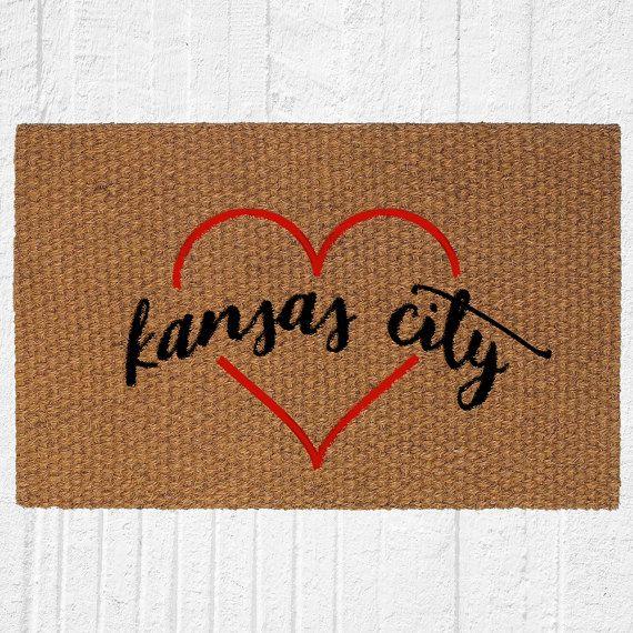 Kansas City Love Welcome Doormat Outdoor Rug by UrbanOwlCoShop
