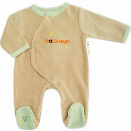 ff11f832c8075 Pyjama dors bien bébé garçon en velours beige   vert d eau brodé Rock Baby  Les Chatounets à 12
