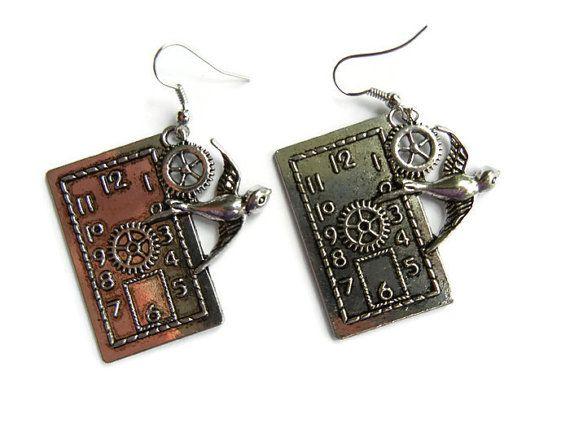 Steampunk earrings steampunk jewelry steampunk clock door EraOfCrea