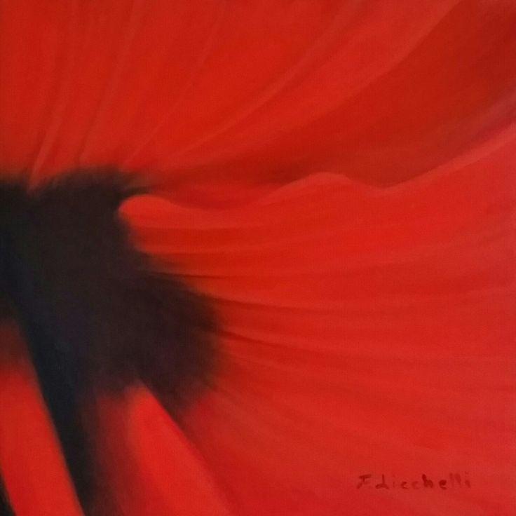 Dipinto olio su tela originale, moderno, rosso e nero. Ideale per arredamenti moderni e originale regalo di nozze. misure: 30 x 30 cm. anno: 2015