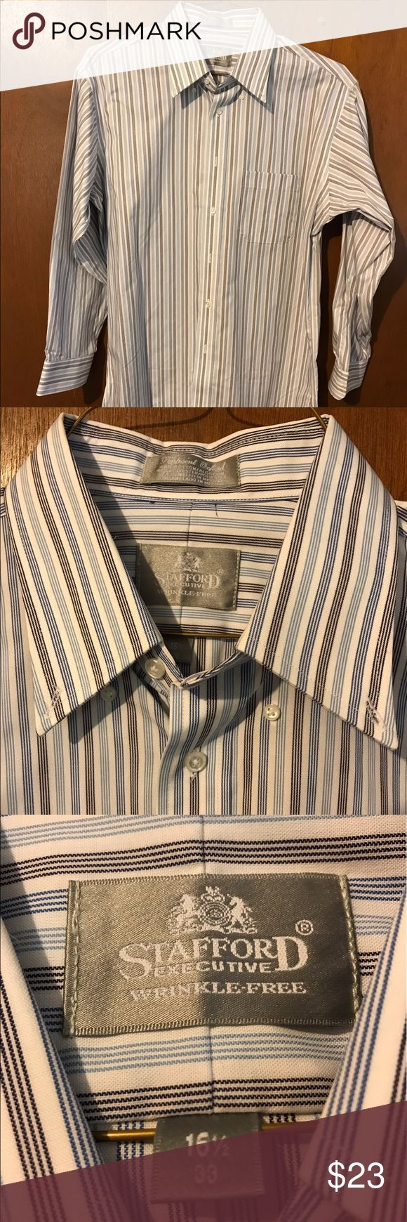 Stafford Dress Shirt NWOT-Stafford Wrinkle Free dress shirt. Brilliant blues and grays adorn this button up shirt. Perfect for the office or a night on the town. Stafford Shirts Dress Shirts