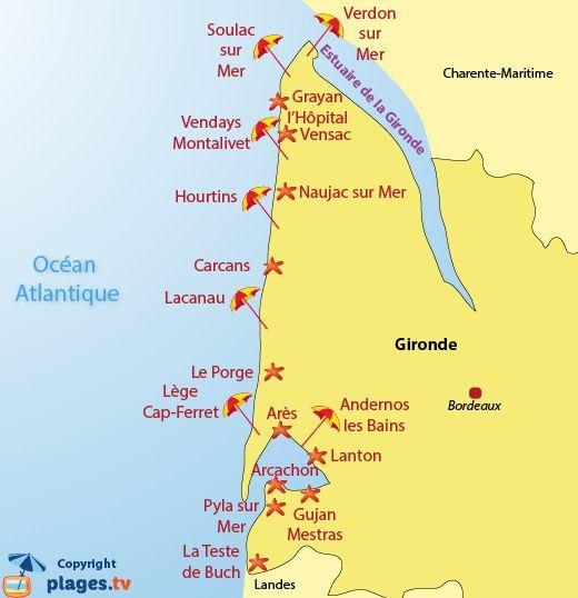 map of beaches and seaside resort in gironde in france atlantic reizen pinterest best. Black Bedroom Furniture Sets. Home Design Ideas