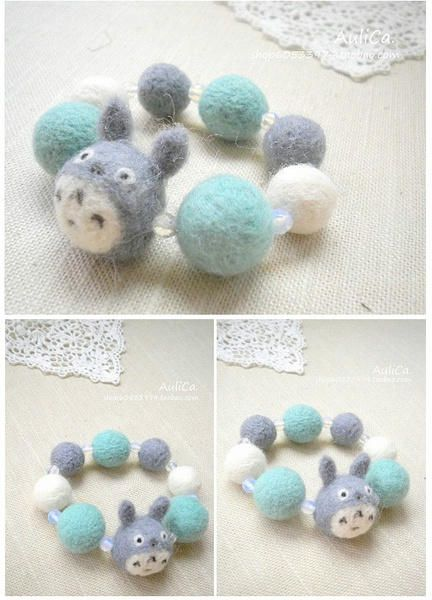 totoro felted bracelet! probably wouldn't wear this but it's so funny!
