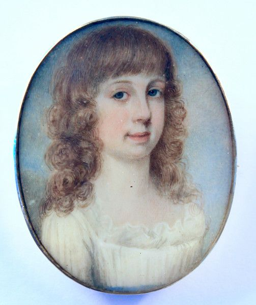 A pretty portrait miniature of a young Girl
