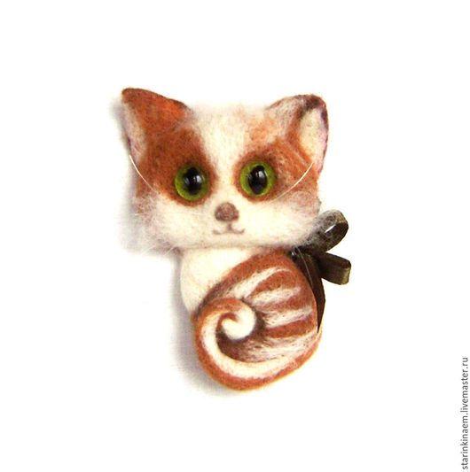 """Броши ручной работы. Ярмарка Мастеров - ручная работа. Купить (Отложена) Брошь войлочная """"Кошечка"""" .  Броши из шерсти. Кошки.. Handmade."""