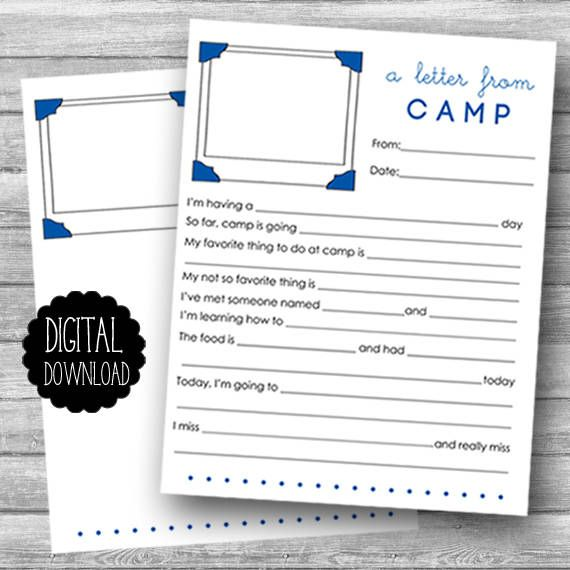 PRINTABLE Summer Camp Stationery / Printable Fill in the Blank
