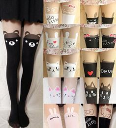 Sexy-Cute-Chic-Mock-Tattoo-Half-Sheer-Pantyhose-Tights-Stockings-Animals-Style