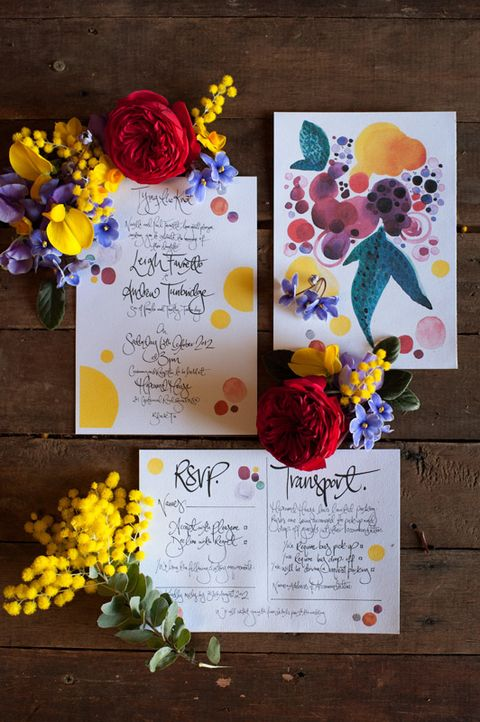 vibrant floral water colour wedding invitations