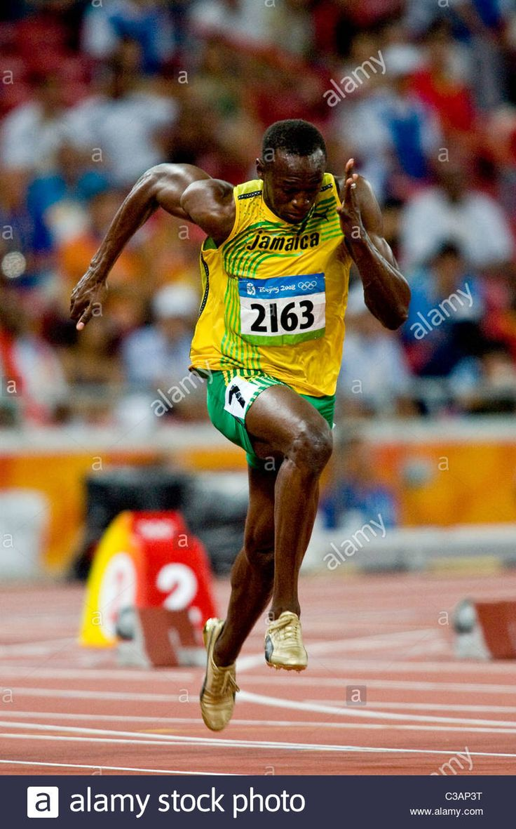 Usain Bolt (JAM) competing in the 100m at the 2008 Olympic