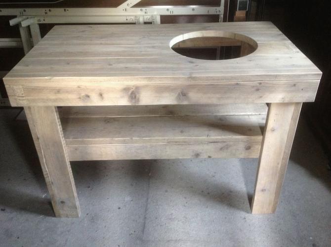 big green egg tafel bouwtekening | Tafel voor Big Green Egg L130, B80cm, H90cm