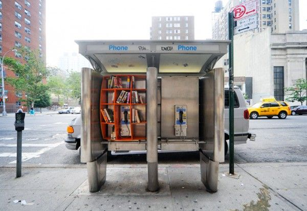 Turning near-obsolete phone booths into mini public libraries. Nice.