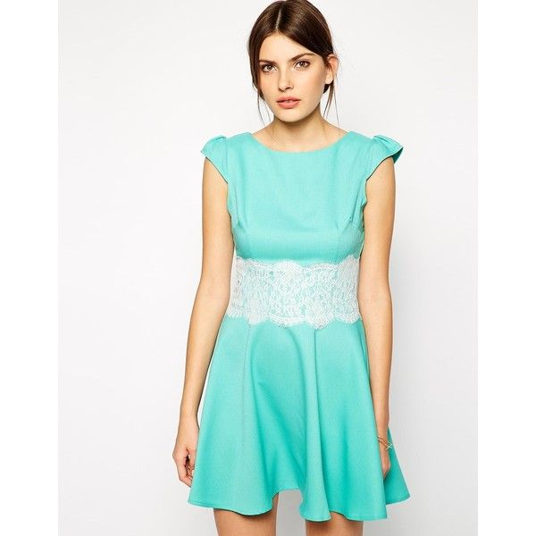 Ax paris jade green lace wrap skater dress