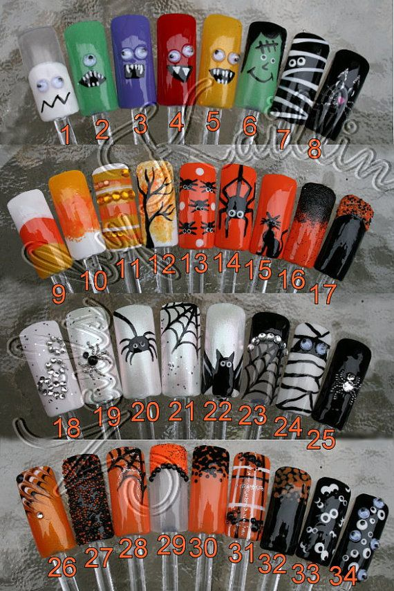 Spooky October Artificial Nail Art by KaitlinsKreationsart on Etsy