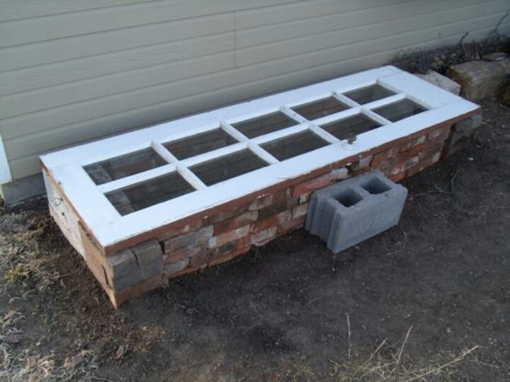 Homemade cold frame made with recycled bricks and an old door